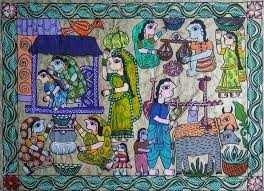 mithila art-depicting the village life