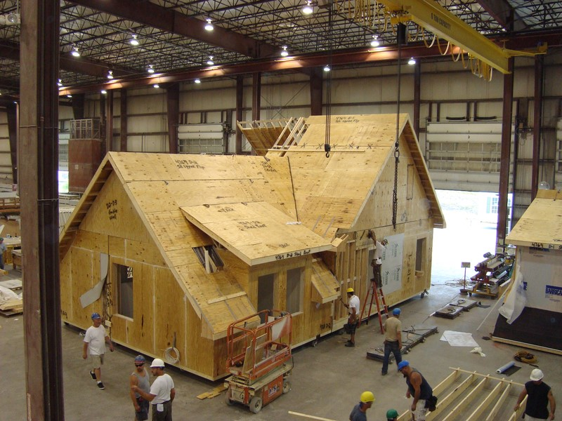 Construction of prefab house in factory